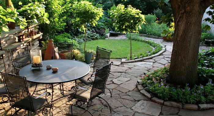 Outdoor patio in backyard, stone pathway